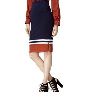 Bar III Striped Sweater Skirt Pencil Stretch Navy